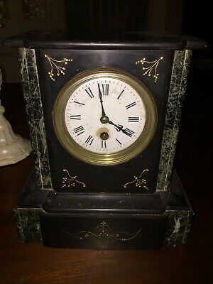 Antique French Black Slate and Marble Mantle Clock