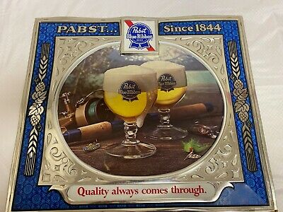 """Vtg Pabst Blue Ribbon """"The Quality Always Comes Through"""" Plastic Wall Sign"""