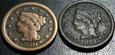 Decent Date Run Lot Braided Hair LARGE Cent Coins 1850 1851 Old 1C Collection