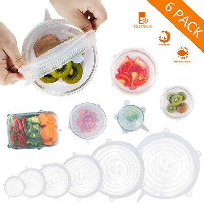 Stretch Lids,Silicone Stretch Covers Reusable Seal Food Stretch Wrap 6 Pac Y3O5