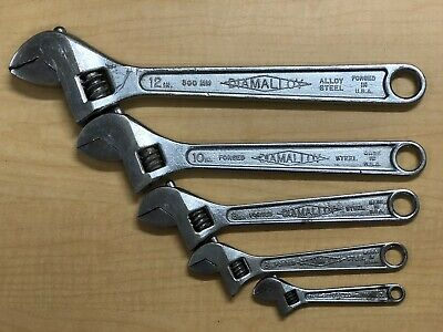 """Vintage 5pc. Diamalloy  adjustable wrench set 4""""-6""""-8""""-10""""-12""""- made in USA"""