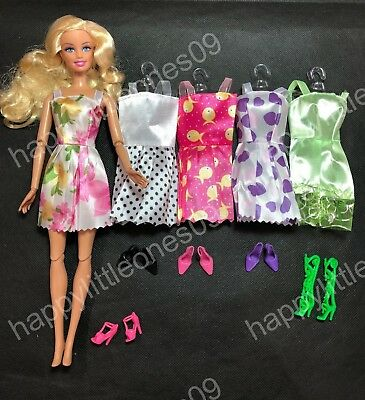 5x Barbie Doll Party Evening Dress /Clothes/Outfit and 5 pairs of Doll Shoes New