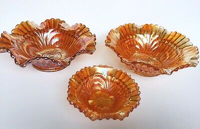 Set Of 3 Vintage Imperial Scroll Embossed Marigold Carnival Glass Ruffled Bowls