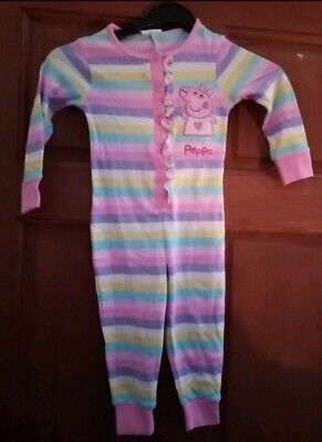 Peppa Pig  Cotton All In One Pyjamas Girls Age 12-18m striped