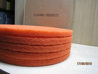 """pack of 5 floor scrubber buffer polisher pads red 17"""" 430mm heavy duty"""