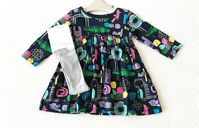 Next Baby Girls Navy Character Dress & Silver Tights Age 6-9 Months BNWT