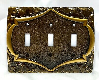 New Vintage Amerock Triple Metal Switchplate Switch Plate Monterey Collection