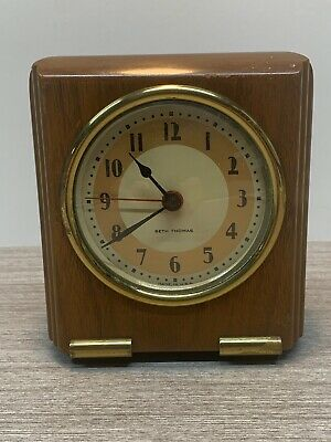 Vtg Seth Thomas Electric Mantel Desk Clock Walnut Art Deco 1930's Tested Working