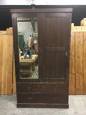 Large Imposing Vintage Antique Pitch Pine Edwardian Mirrored Wardrobe Armoire.