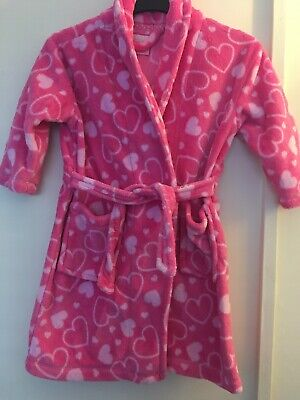 Girls Aged 3-4 Years Primark Pink With Hearts Dressing Gown