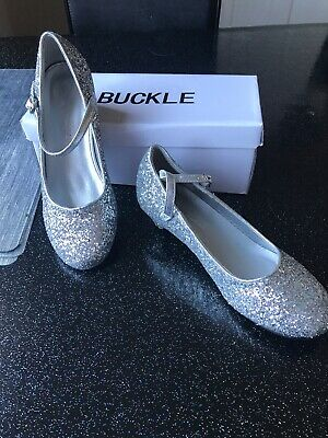 Girls Silver Glitter Shoes Size 34 Never Worn Outside