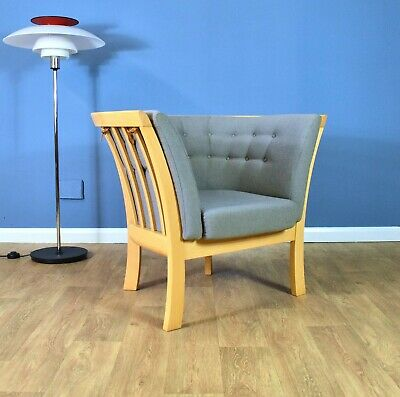 Mid Century Modern Retro Danish Grey 'Maria' Beech Lounge Arm Chair by Stouby