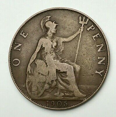 Dated : 1905 - One Penny - 1d Coin - King Edward VII - Great Britain