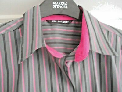 """M&S - Autograph"" Gorgeous Grey & Pink Shirt Blouse Top Size 16 – Worn Once!!!"