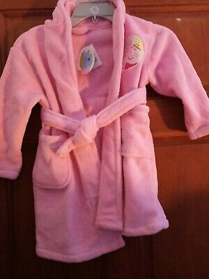 Girls Pink Peppa Pig Hooded Dressing Gown Robe Size 2-3 Years