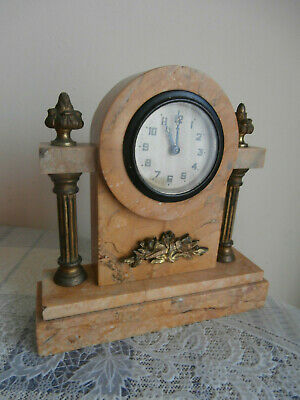 Antique Edwardian Pale Marble Cased Mantel Clock With Gilt Mounts/Decoration