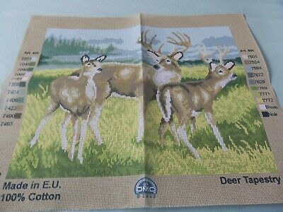 """DMC Tapestry Canvas '3 Deers'  18.5""""x 14.5"""" NO THREADS CANVAS ONLY NEW"""