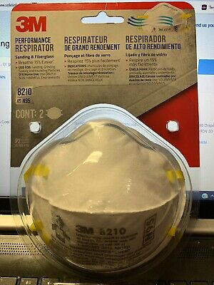 3M 8210 N95 Particulate Respirator Face Masks - 2 Pack