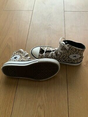Girls Leopard Print Converse Trainers, Kids Size 10 (UK). Good Condition!