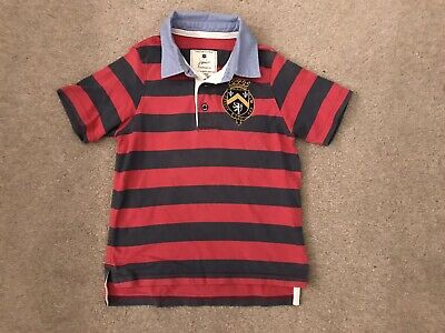 Joules Short Sleeved Rugby Top Red Striped Age 6 Years