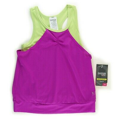 Danskin Now Active Tank Youth Girls Size XS 4-5 Two Tone Orchid Lime NWT