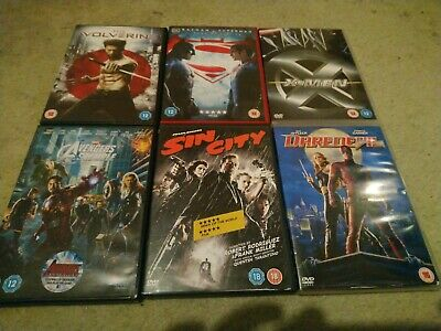 6 Marvel And DC Comics Film DVD Bundle Inc Avengers Assemble + Dawn Of Justice