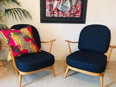 Mid Century Ercol Blonde Windsor 203 Lounge Chairs (Pair) - Vintage Retro