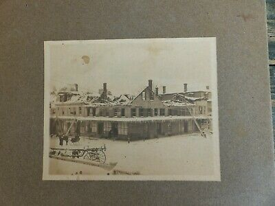 antique cabinet card photo fire apparatus hores drawn sleigh burnt building 1880