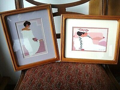 """Pair Teak Picture Frames - 11"""" X 9"""" - Two Hawaiian Prints Included At No Cost"""