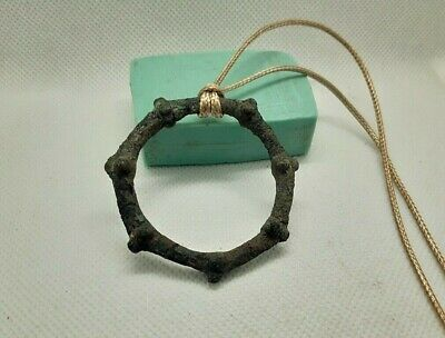 Rare Ancient Artifact Celtic Bronze BIG Ring Pendant Proto Money Pre- Coin #166