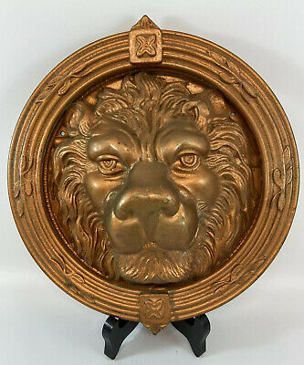 "Door Knocker Lion Head  9"" Vintage Heavy Solid Brass Detailed MGM Decorative"