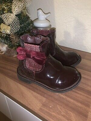 Girls Maroon/red Sparkly Glitter Bow Patent Boots Size 5