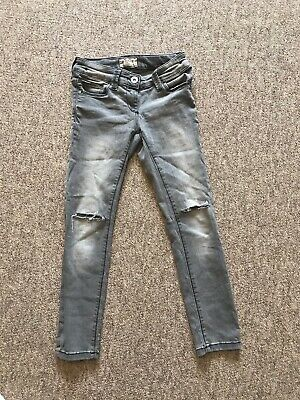 Next Girls Skinny Ripped Grey Denim Jeans Age 7- 8 years Soft And Stretchy