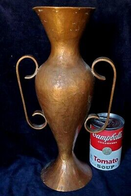 """Hammered Copper 12"""" Vase Arts & Crafts w Silver Dollar in Base Unknown Unmarked"""