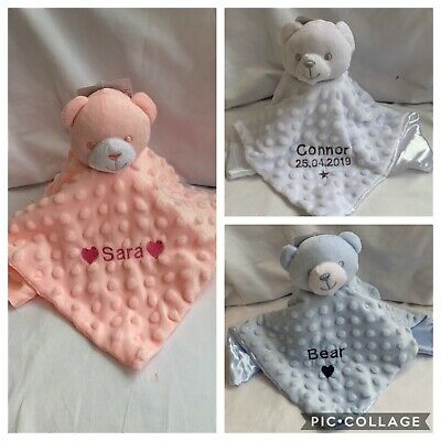 Personalised Baby Comforter Teddy Bear Taggie Blanket Soft Fleece Boy Girl Gift