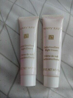 2 Mary Kay Extra Emollient Night Cream .42 oz for extremely dry skin new