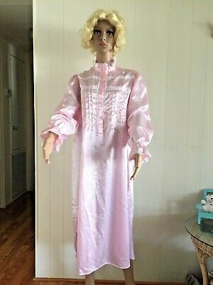 INTIMATE MOMENTS sleepwear night Dress Gown White  Rose lace cotton plstr M NWOT