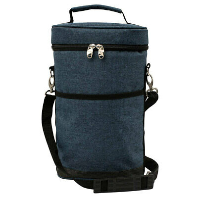 Karlstert Premium 2 Bottle Insulated Tote Carrier Wine Outdoor Travel Bag Blue