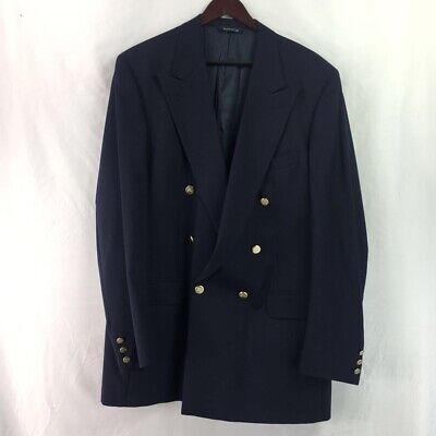 VTG Burberrys Nordstrom Mens Double Breasted Suit Jacket Blue Wool Lined 49