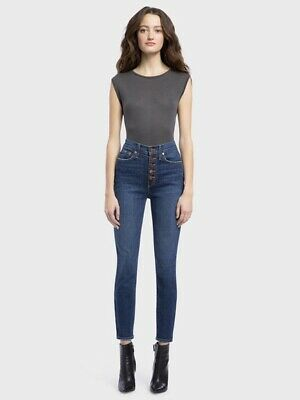 AO.LA Alice Olivia Jeans 25 Good High Rise Skinny Exposed Buttons Denim $275