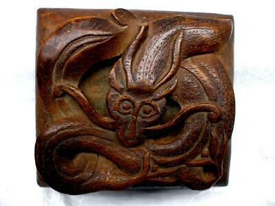 Vintage Antique Hand Carved Wood Persian Dragon Box High Relief