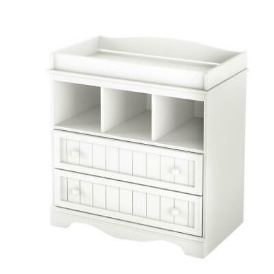 baby changing dresser table classic 2 drawer pure white