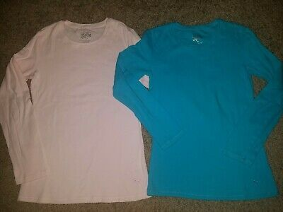 Justice Girls Lot of 2 Size 10 Long Sleeve Layering Shirts Pink Turquoise Blue