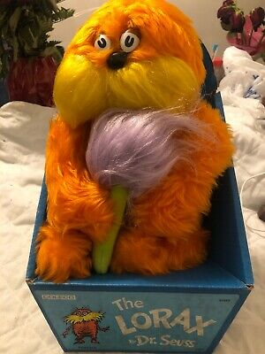 Vintage Coleco 1983 Dr. Suess The Lorax Stuffed Plush Toy In Box Rare Unused