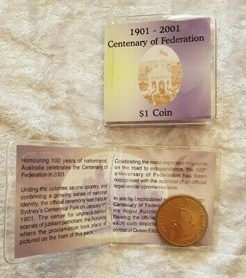 2001 One Dollar Coin Centenary of Federation in Pouch with Story Uncirculated