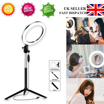 LED Studio Ring Light Photo Video Lamp Light Dimmable Tripod Selfie Camera Phone
