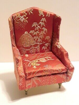 Vintage Ideal Petite Princess Miniature Dollhouse Furniture Orange Armchair