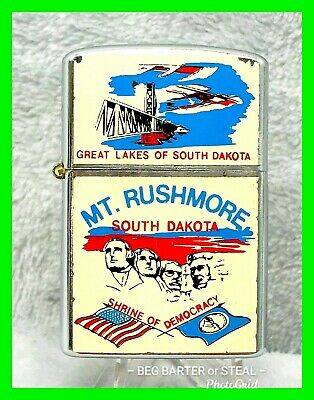 Vintage Mt. Rushmore S.D. Windproof Advertising Lighter FULL COLOR ~ VERY RARE!