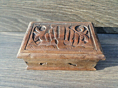 Antique 19th Century Scandinavian Swedish Relief Carved Wooden Wooden Box