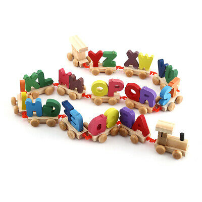 Fashionable Colorful Wooden Letters Train Educational Alphabetical Assemble Toy#